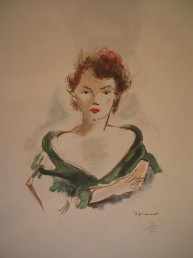 André DIGNIMONT - 版画 - Jeune femme au décolleté,1960.