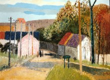 Gérard PASSET - Pintura - *Paysage Aux Deux Maisons