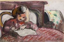 路易斯·瓦尔塔 - 绘画 - Enfant écrivant