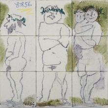 Pablo PICASSO - Ceramiche - Famille, têtes laurées : Quatre personnages