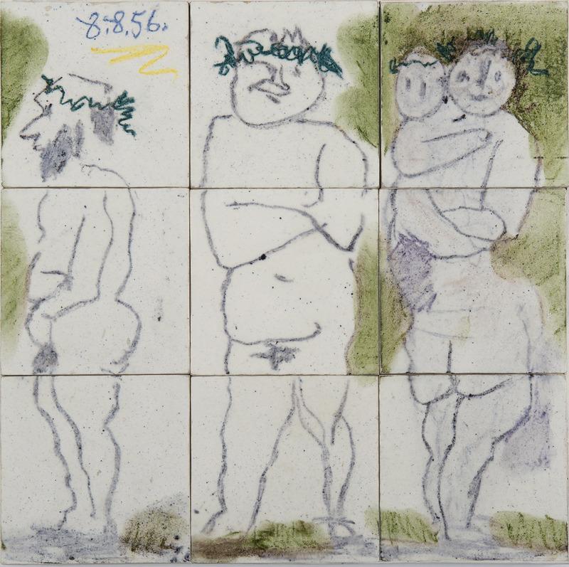 Pablo PICASSO - Ceramic - Famille, têtes laurées : Quatre personnages