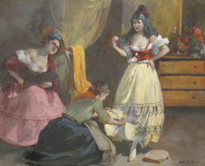 Witman Etelka VIZKELETI - Pintura - Tamborinspielerin bei der Anprobe