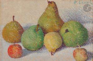Achille LAUGÉ - Pintura - Nature morte aux cinq poires et aux deux pommes