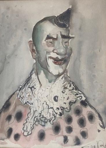 Eugène DE BIE - Dessin-Aquarelle - Le Clown rose