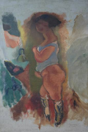 Jules PASCIN - Pintura - Femme en Chemise Bleue