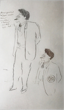 Jean COCTEAU - Drawing-Watercolor - Double Portrait of Herman Dietz