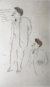 Jean COCTEAU - Dibujo Acuarela - Double Portrait of Herman Dietz