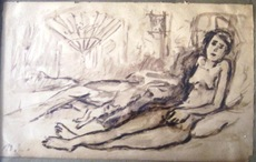 Mikhail LARIONOV - Drawing-Watercolor - Nude with a Cat (Portrait of Alexandra Tomilina)