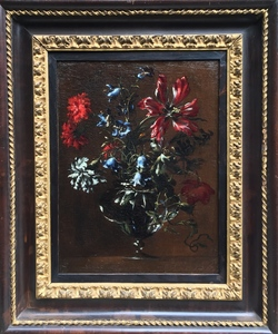 Mario Nuzzi MARIO DEI FIORI - Painting - Flowers in a glass vase