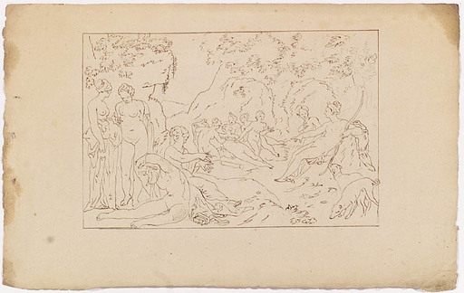 "Josef VON FÜHRICH - Dibujo Acuarela - ""From the Cycle Ovid's Metamorphoses"", ca 1820"