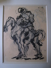 Jacques LIPCHITZ - Drawing-Watercolor - CAVALIER ET CHEVAL