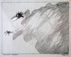 Paul FLORA - Drawing-Watercolor - Monsieur Corbeau