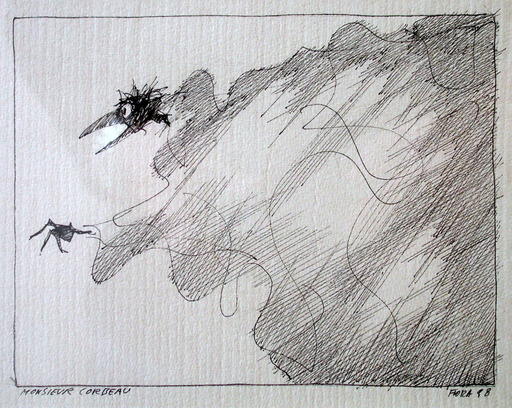 Paul FLORA - Dibujo Acuarela - Monsieur Corbeau