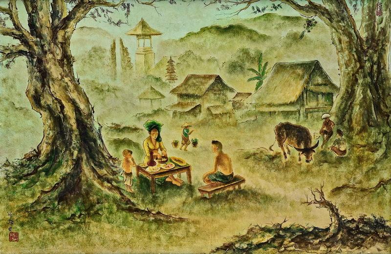 LEE Man Fong - Pintura - Balinese Life in an Idyllic Village