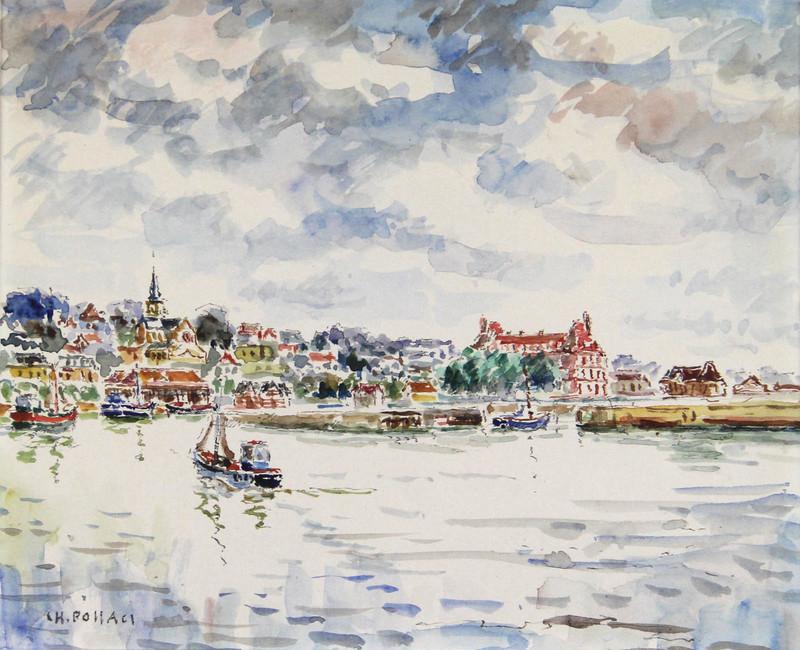 Charles POLLACI - Dibujo Acuarela - Deauville, Trouville