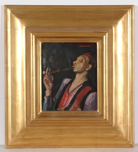 "Franz WINDHAGER - Pittura - ""Pipe Smoker"", Oil Painting, 1920's"