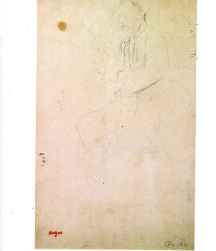 Edgar DEGAS - Dibujo Acuarela - Portrait d'Eugéne Manet