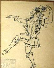 Léon BAKST - Drawing-Watercolor - Two drafts of  pochoir(stencil)s for costume designs
