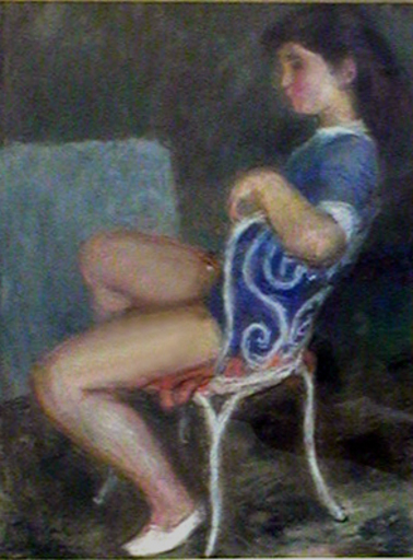 Pierre DEVAL - Disegno Acquarello - Jeune fille assise sur la chaise