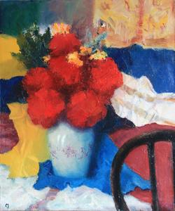 Levan URUSHADZE - Painting - Red flowers & chair back