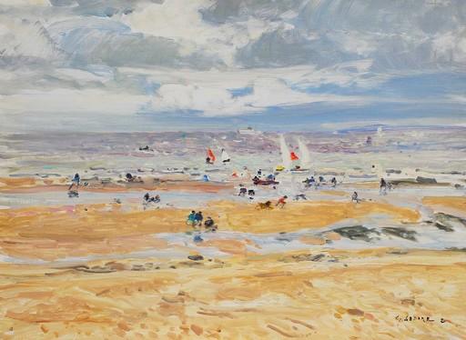 Gaston SEBIRE - Painting - Plage en Normandie