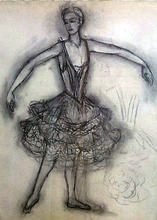 "Nathalie GONTCHAROVA - Drawing-Watercolor - Anna Pavlova in ""A Dying Swann""."