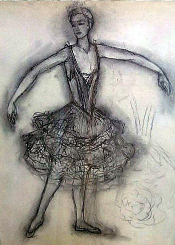 "Nathalie GONTCHAROVA - Dibujo Acuarela - Anna Pavlova in ""A Dying Swann""."