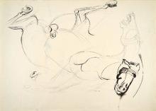 Bruno CASSINARI - Drawing-Watercolor - FALLEN HORSE