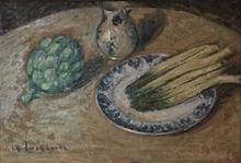 古斯塔夫·罗瓦索 - 绘画 - Natura morta con asparagi, 1926 ca