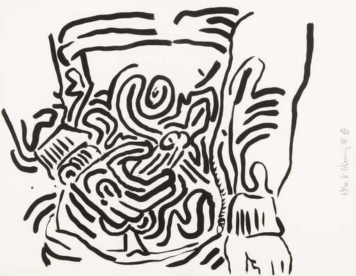 "Keith HARING - Estampe-Multiple - Plate 2 from ""Bad Boys"""
