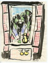 Gabriel ZENDEL - Dibujo Acuarela - DESSIN À L'ENCRE PASTEL SIGNÉ 1952 HANDSIGNED INK DRAWING