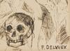 Paul DELVAUX - Disegno Acquarello - Estudio de personajes
