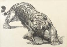 Paul JOUVE - Grabado - Jaguar au lièvre
