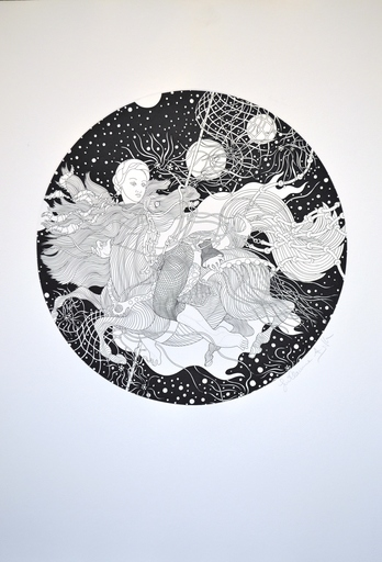Guillaume A. AZOULAY - Estampe-Multiple - Virgo Zodiac - Black & White
