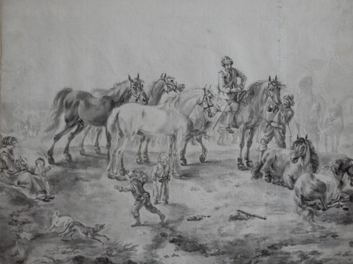 Jan Frans I VAN BREDAEL - Drawing-Watercolor - A horse market