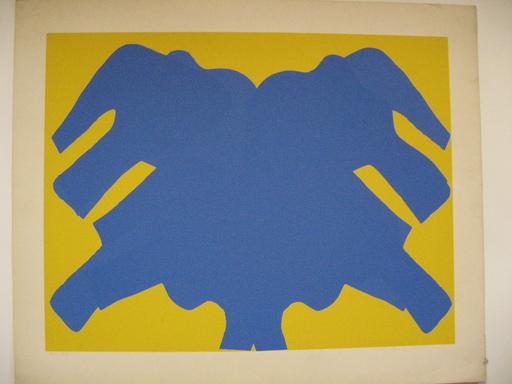 Marie RAYMOND - Print-Multiple - LA COMPOSITION JAUNE ET BLEUE