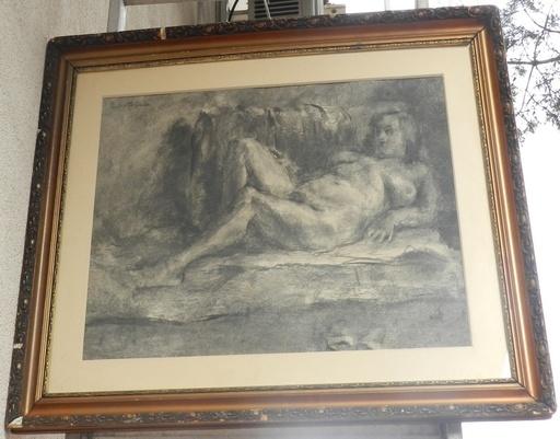 Vilmos PERLROTT CSABA - Zeichnung Aquarell - Nude woman lying