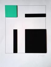 Gottfried HONEGGER - Grabado - Composition 3 carrés 3D (vert, noir)