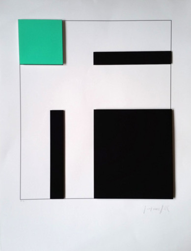 Gottfried HONEGGER - Print-Multiple - Composition 3 carrés 3D (vert, noir)