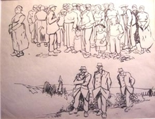 Frans MASEREEL - Drawing-Watercolor - soldats à Brest