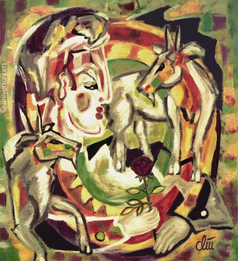 Jacqueline DITT - Painting - Die Ziegen (The Goats)