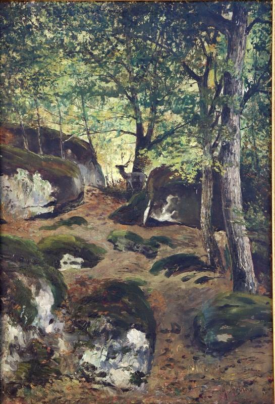 """Jules François Achille AMBROISE - Painting - """"SOUS-BOIS AU CERF A FONTAINEBLEAU"""""""