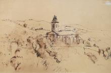 Henri HAYDEN - Dibujo Acuarela - View of the Church Saint-Pierre in Bedoin