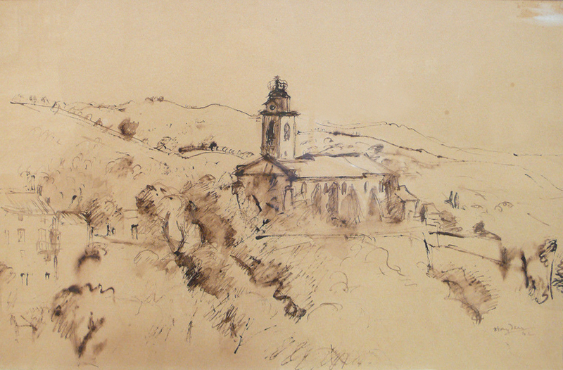 Henri HAYDEN - Disegno Acquarello - View of the Church Saint-Pierre in Bedoin