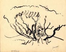 """Jules PASCIN - Disegno Acquarello - """"Confidences"""""""