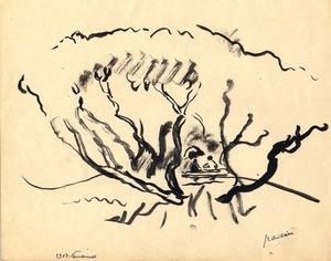 "Jules PASCIN - Dibujo Acuarela - ""Confidences"""