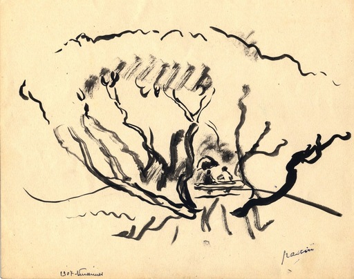 "Jules PASCIN - Drawing-Watercolor - ""Confidences"""