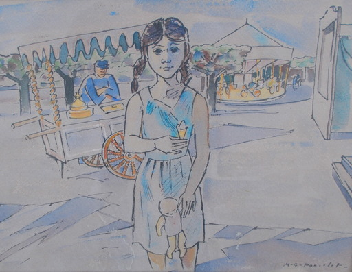 Maurice Georges PONCELET - Drawing-Watercolor - fête foraine