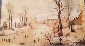 Hendrick AVERCAMP - Pintura - Winter landscape with bird-trap