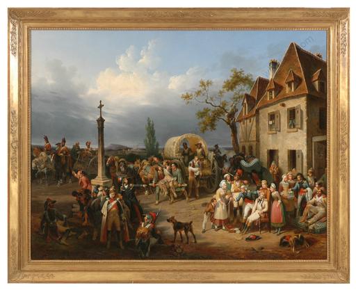 "Hippolyte LECOMTE - 绘画 - ""Ambulance de troupes français (1792)"", rediscovered monumen"